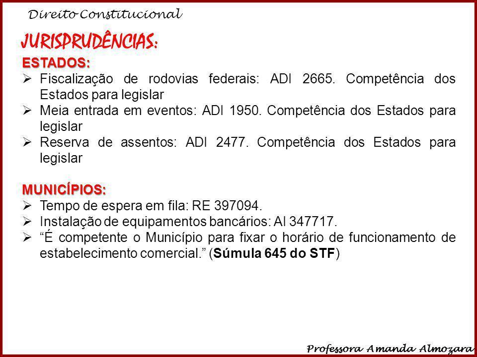 Direito Constitucional Professora Amanda Almozara 39 JURISPRUDÊNCIAS:ESTADOS: Fiscalização de rodovias federais: ADI 2665. Competência dos Estados par
