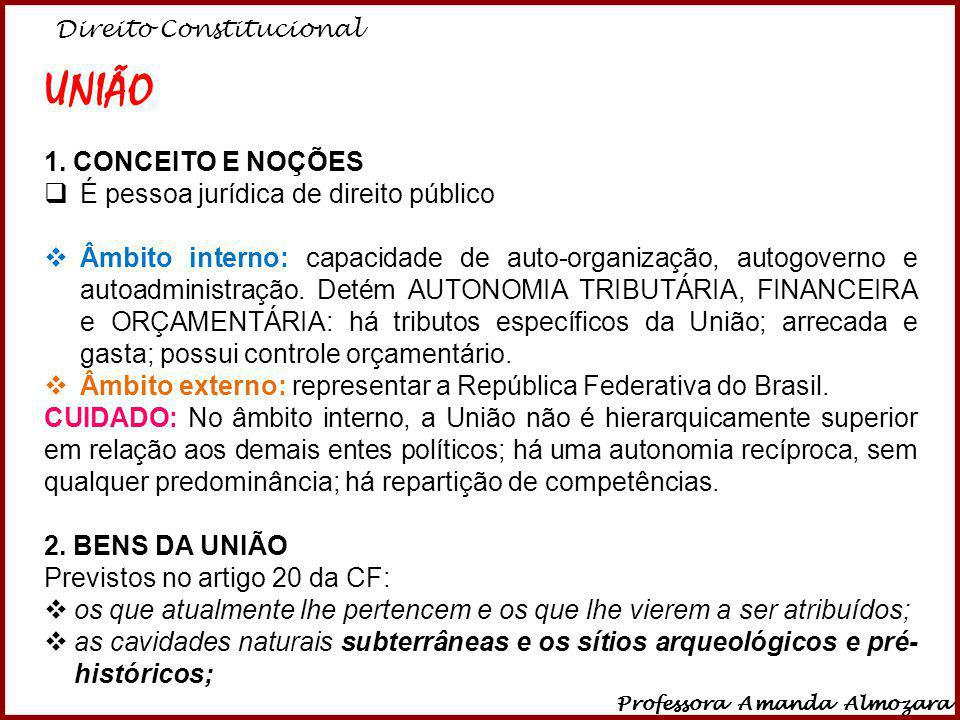Direito Constitucional Professora Amanda Almozara 7 UNIÃO 1. CONCEITO E NOÇÕES É pessoa jurídica de direito público Âmbito interno: capacidade de auto