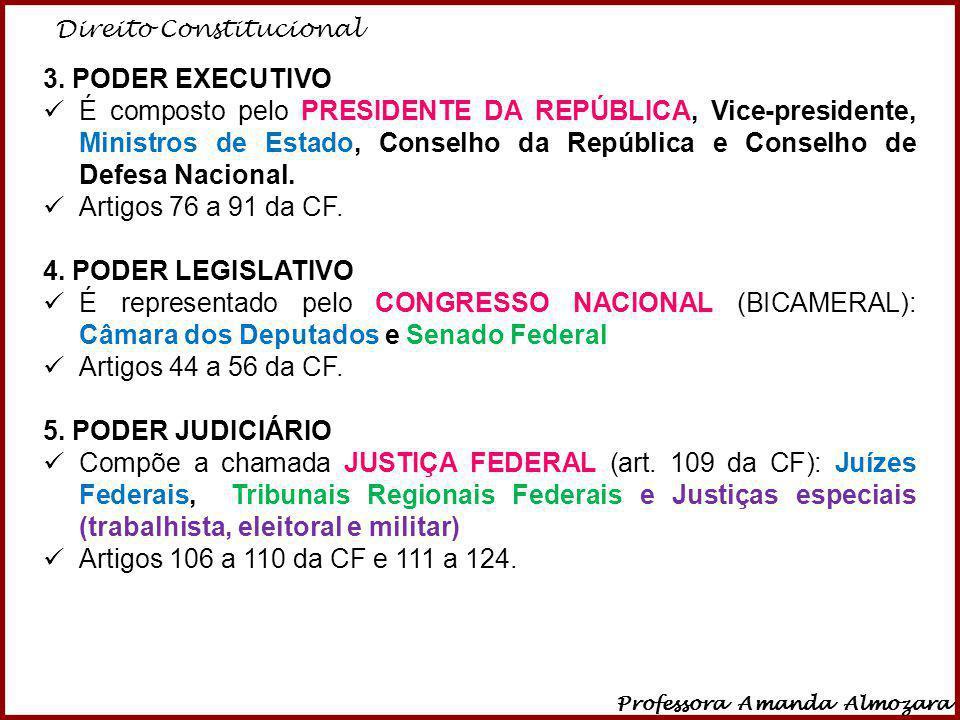 Direito Constitucional Professora Amanda Almozara 9 3. PODER EXECUTIVO É composto pelo PRESIDENTE DA REPÚBLICA, Vice-presidente, Ministros de Estado,