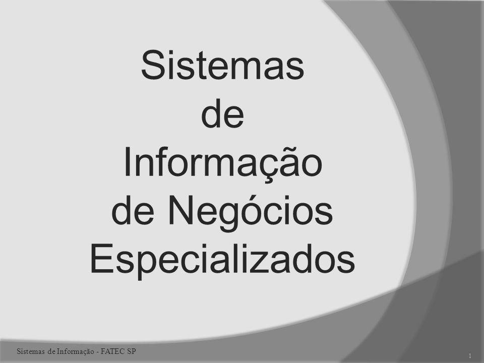 Sistemas de Informação de Negócios Especializados 1 Sistemas de Informação - FATEC SP