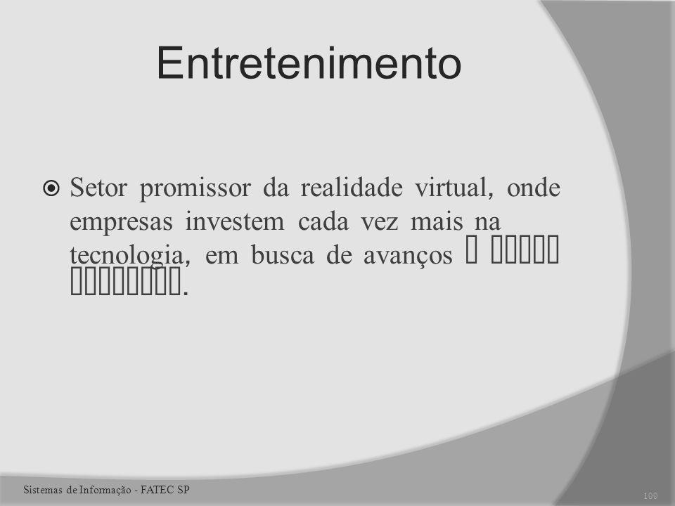 Entretenimento Setor promissor da realidade virtual, onde empresas investem cada vez mais na tecnologia, em busca de avanços e novos clientes.