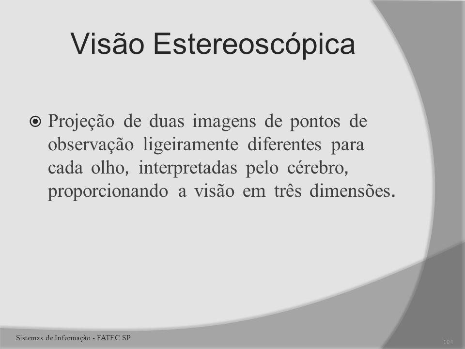 Visão Estereoscópica Projeção de duas imagens de pontos de observação ligeiramente diferentes para cada olho, interpretadas pelo cérebro, proporcionando a visão em três dimensões.