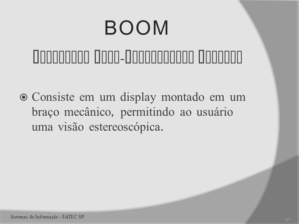 BOOM B inocular O mni - O rientation M onitor Consiste em um display montado em um braço mecânico, permitindo ao usuário uma visão estereoscópica.