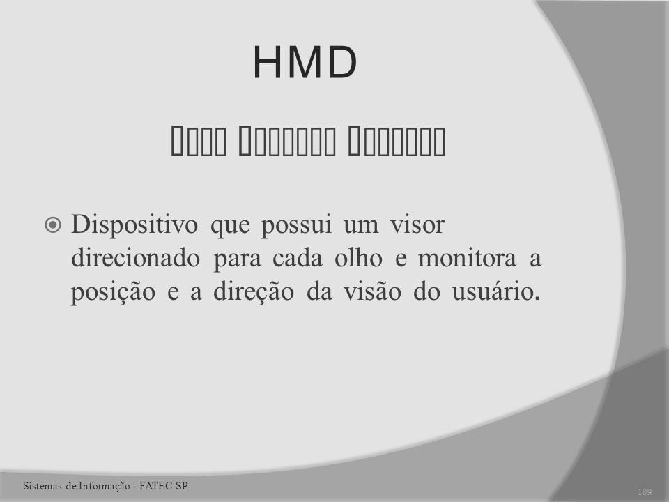 HMD H ead M ounted D isplay Dispositivo que possui um visor direcionado para cada olho e monitora a posição e a direção da visão do usuário.