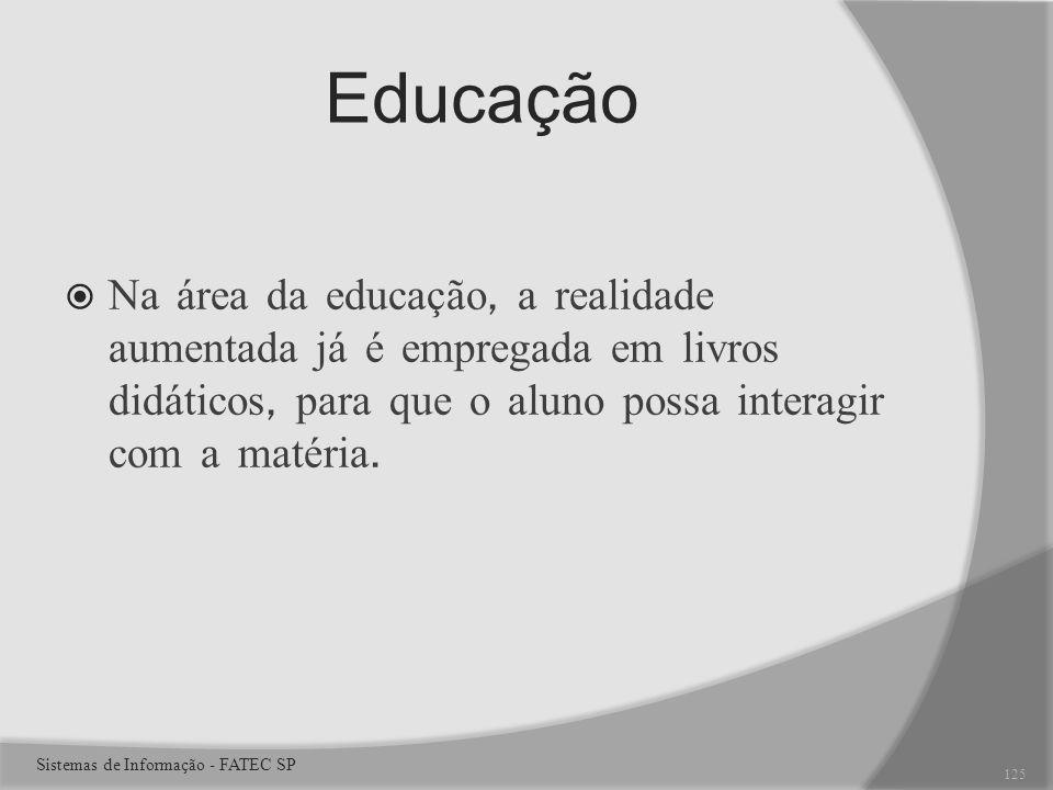 Educação Na área da educação, a realidade aumentada já é empregada em livros didáticos, para que o aluno possa interagir com a matéria.