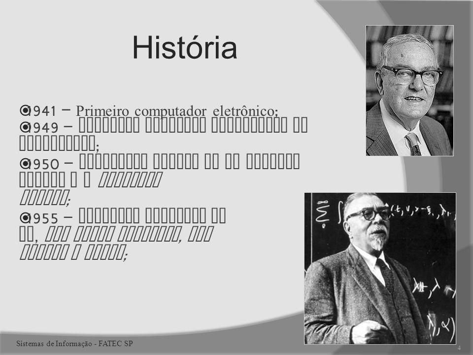 1941 – Primeiro computador eletrônico ; 1949 – Primeiro programa armazenado em computador ; 1950 – Primeiros sinais de IA Norbert Wiener e a Feedback Theory ; 1955 – Primeiro programa de IA, The Logic Theorist, por Wiener e Simon ; História 4 Sistemas de Informação - FATEC SP