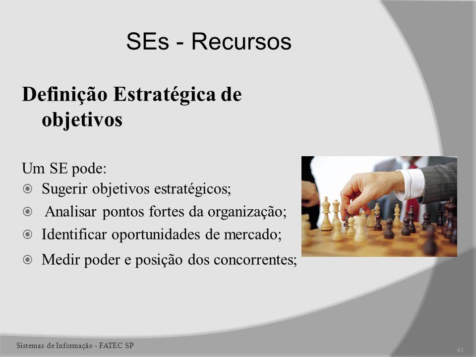 SEs - Recursos Definição Estratégica de objetivos Um SE pode: Sugerir objetivos estratégicos; Analisar pontos fortes da organização; Identificar oportunidades de mercado; Medir poder e posição dos concorrentes; 61 Sistemas de Informação - FATEC SP