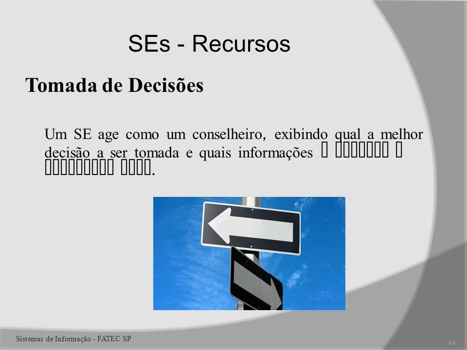 SEs - Recursos Tomada de Decisões Um SE age como um conselheiro, exibindo qual a melhor decisão a ser tomada e quais informações o levaram a constatar isso.