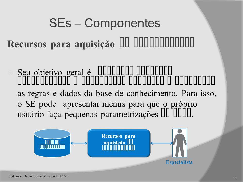 SEs – Componentes Recursos para aquisição do conhecimento Seu objetivo geral é oferecer recursos convenientes e eficientes capturar e armazenar as regras e dados da base de conhecimento.