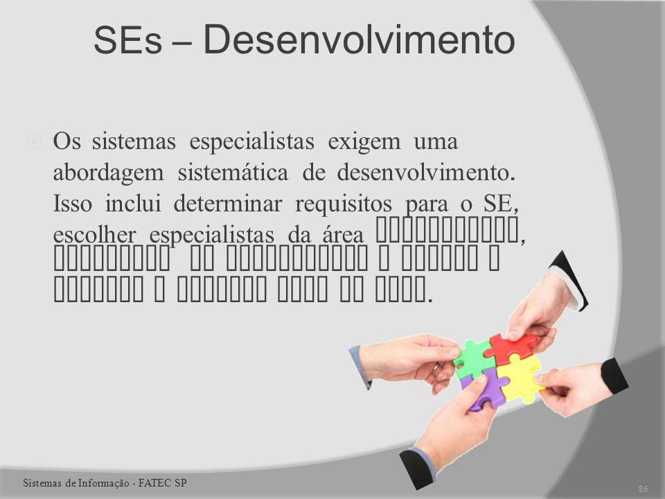 SEs – Desenvolvimento Os sistemas especialistas exigem uma abordagem sistemática de desenvolvimento.