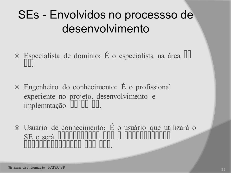 SEs - Envolvidos no processso de desenvolvimento Especialista de domínio : É o especialista na área do SE.