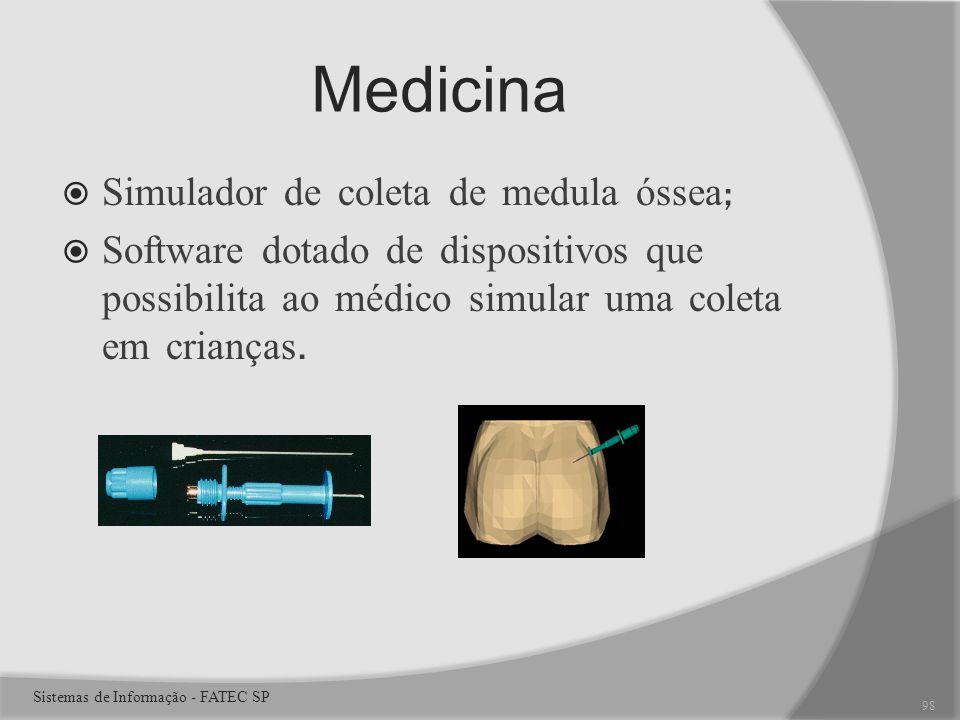 Medicina Simulador de coleta de medula óssea ; Software dotado de dispositivos que possibilita ao médico simular uma coleta em crianças.