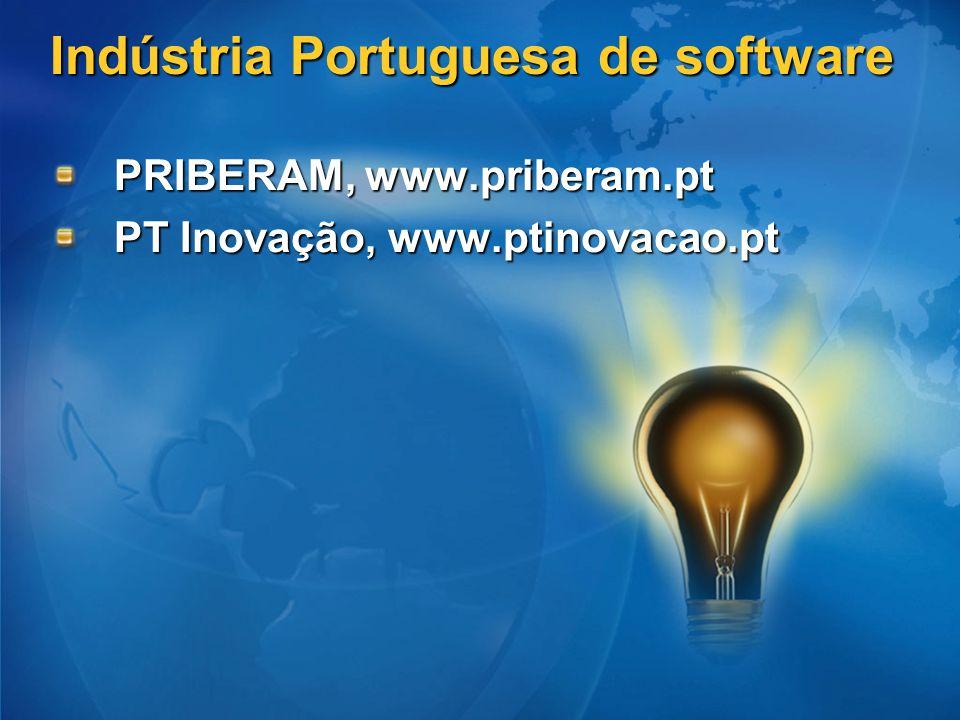 Indústria Portuguesa de software PRIBERAM, www.priberam.pt PT Inovação, www.ptinovacao.pt
