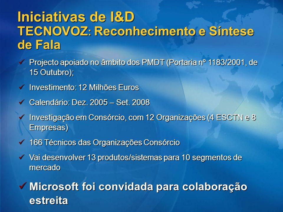Iniciativas de I&D TECNOVOZ : Reconhecimento e Síntese de Fala Projecto apoiado no âmbito dos PMDT (Portaria nº 1183/2001, de 15 Outubro); Projecto ap