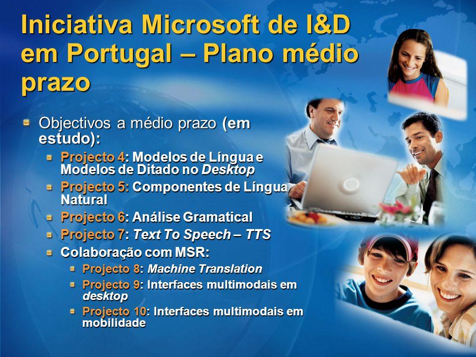 Iniciativa Microsoft de I&D em Portugal – Plano médio prazo Objectivos a médio prazo (em estudo): Projecto 4: Modelos de Língua e Modelos de Ditado no