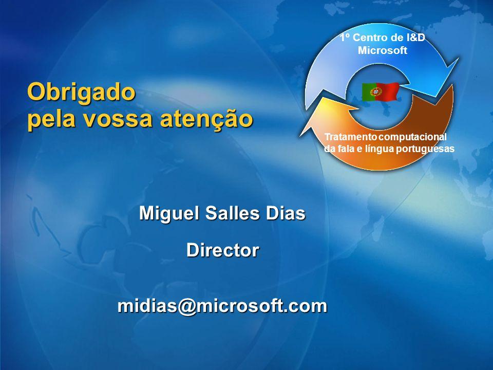 Obrigado pela vossa atenção Miguel Salles Dias Directormidias@microsoft.com Tratamento computacional da fala e língua portuguesas 1º Centro de I&D Mic