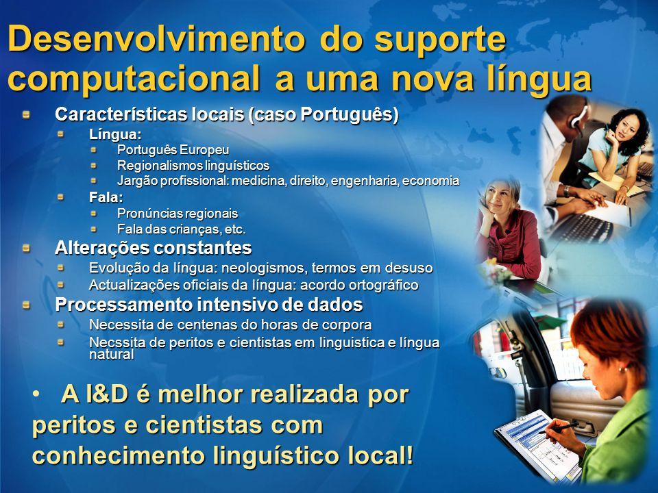 Desenvolvimento do suporte computacional a uma nova língua Características locais (caso Português) Língua: Português Europeu Regionalismos linguístico