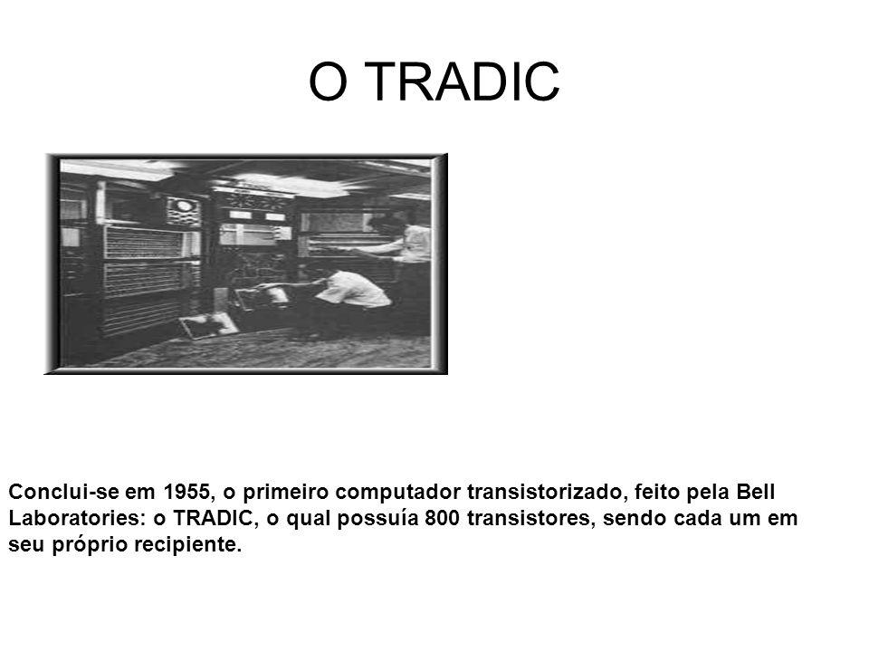 O TRADIC Conclui-se em 1955, o primeiro computador transistorizado, feito pela Bell Laboratories: o TRADIC, o qual possuía 800 transistores, sendo cad