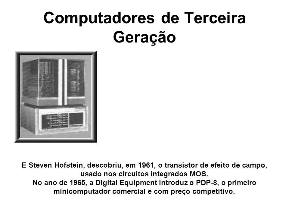 Computadores de Terceira Geração E Steven Hofstein, descobriu, em 1961, o transistor de efeito de campo, usado nos circuitos integrados MOS. No ano de