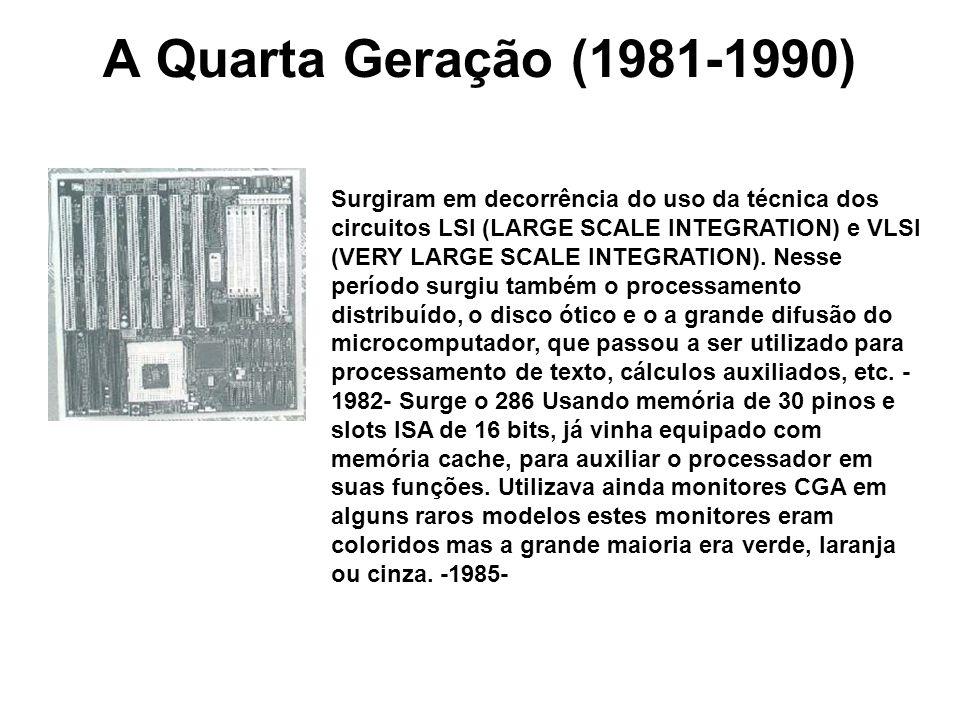 A Quarta Geração (1981-1990) Surgiram em decorrência do uso da técnica dos circuitos LSI (LARGE SCALE INTEGRATION) e VLSI (VERY LARGE SCALE INTEGRATIO