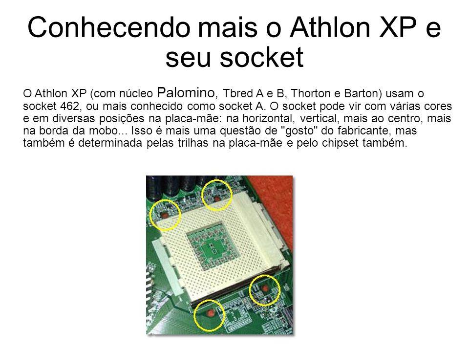 Conhecendo mais o Athlon XP e seu socket O Athlon XP (com núcleo Palomino, Tbred A e B, Thorton e Barton) usam o socket 462, ou mais conhecido como so