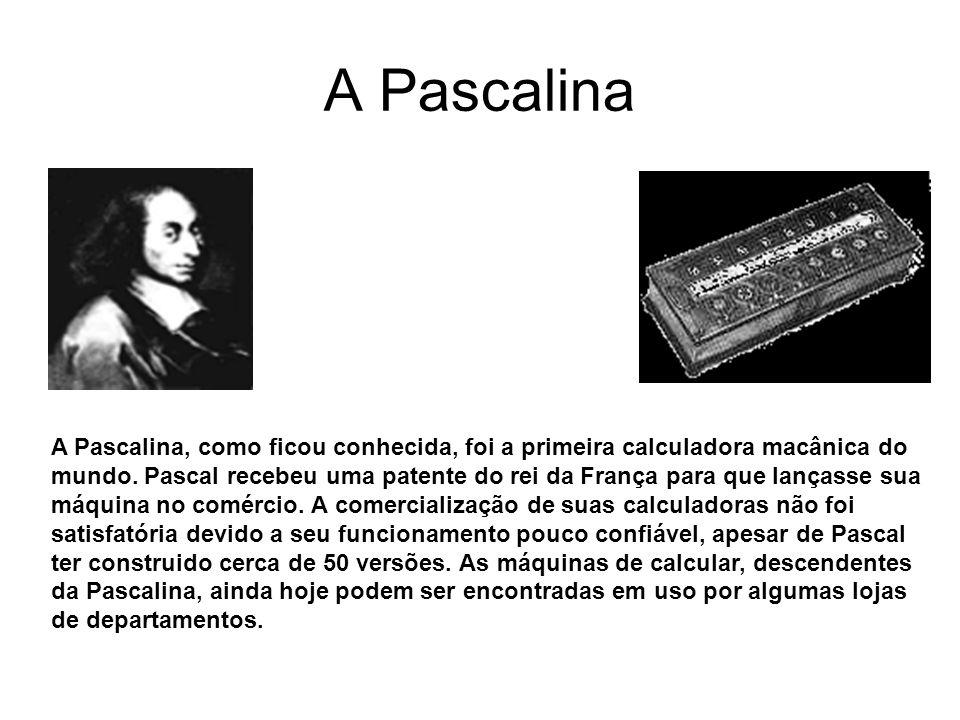 A Pascalina A Pascalina, como ficou conhecida, foi a primeira calculadora macânica do mundo. Pascal recebeu uma patente do rei da França para que lanç