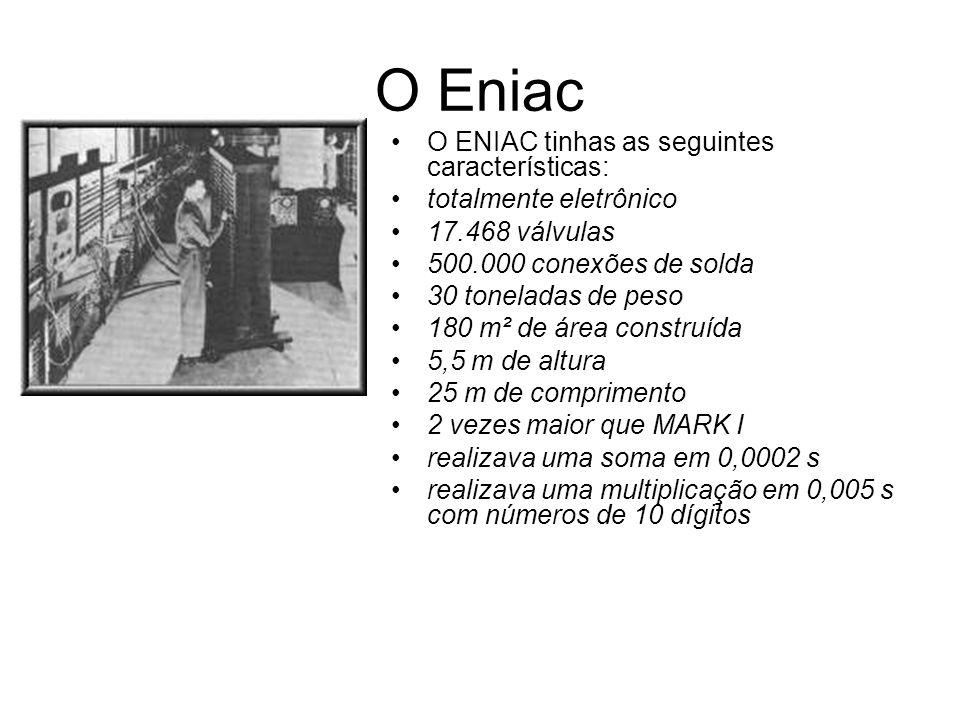 O Eniac O ENIAC tinhas as seguintes características: totalmente eletrônico 17.468 válvulas 500.000 conexões de solda 30 toneladas de peso 180 m² de ár