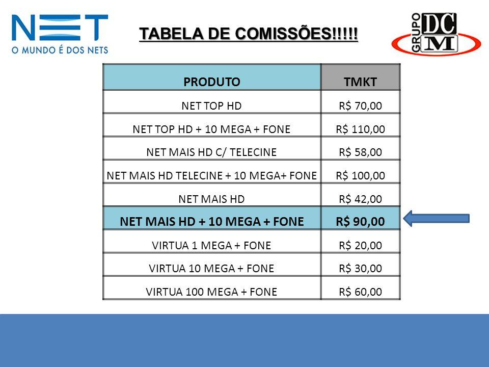 TABELA DE COMISSÕES!!!!! PRODUTOTMKT NET TOP HDR$ 70,00 NET TOP HD + 10 MEGA + FONER$ 110,00 NET MAIS HD C/ TELECINER$ 58,00 NET MAIS HD TELECINE + 10