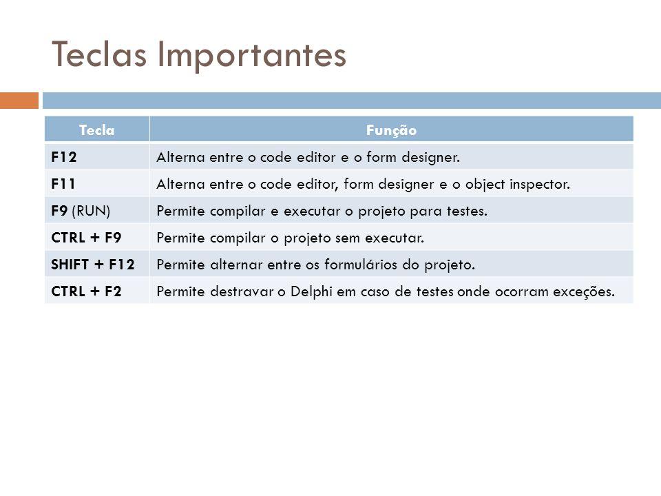 Teclas Importantes TeclaFunção F12Alterna entre o code editor e o form designer. F11Alterna entre o code editor, form designer e o object inspector. F