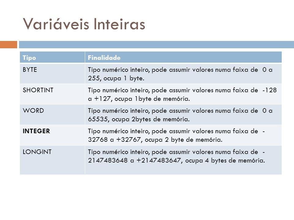 Variáveis Inteiras TipoFinalidade BYTETipo numérico inteiro, pode assumir valores numa faixa de 0 a 255, ocupa 1 byte. SHORTINTTipo numérico inteiro,