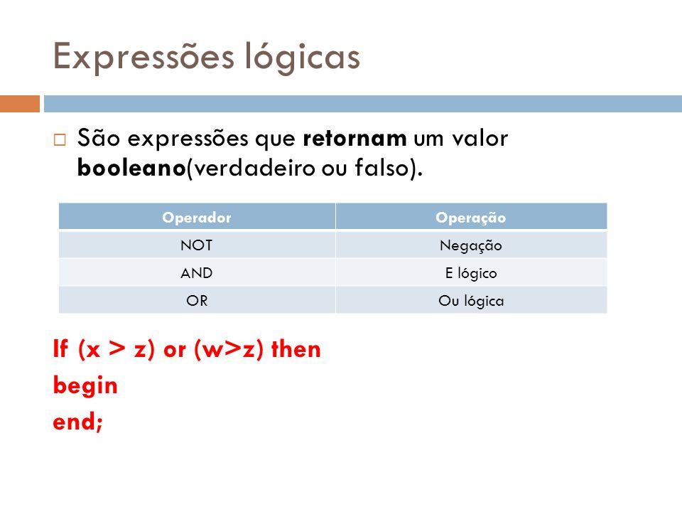 Expressões lógicas São expressões que retornam um valor booleano(verdadeiro ou falso). If (x > z) or (w>z) then begin end; OperadorOperação NOTNegação