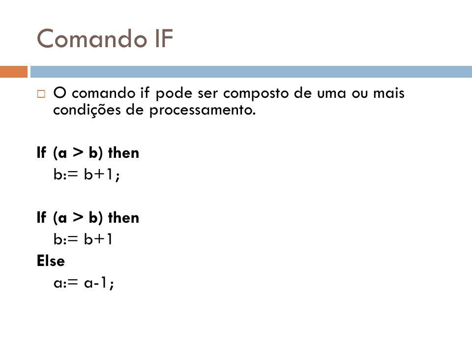 Comando IF O comando if pode ser composto de uma ou mais condições de processamento. If (a > b) then b:= b+1; If (a > b) then b:= b+1 Else a:= a-1;