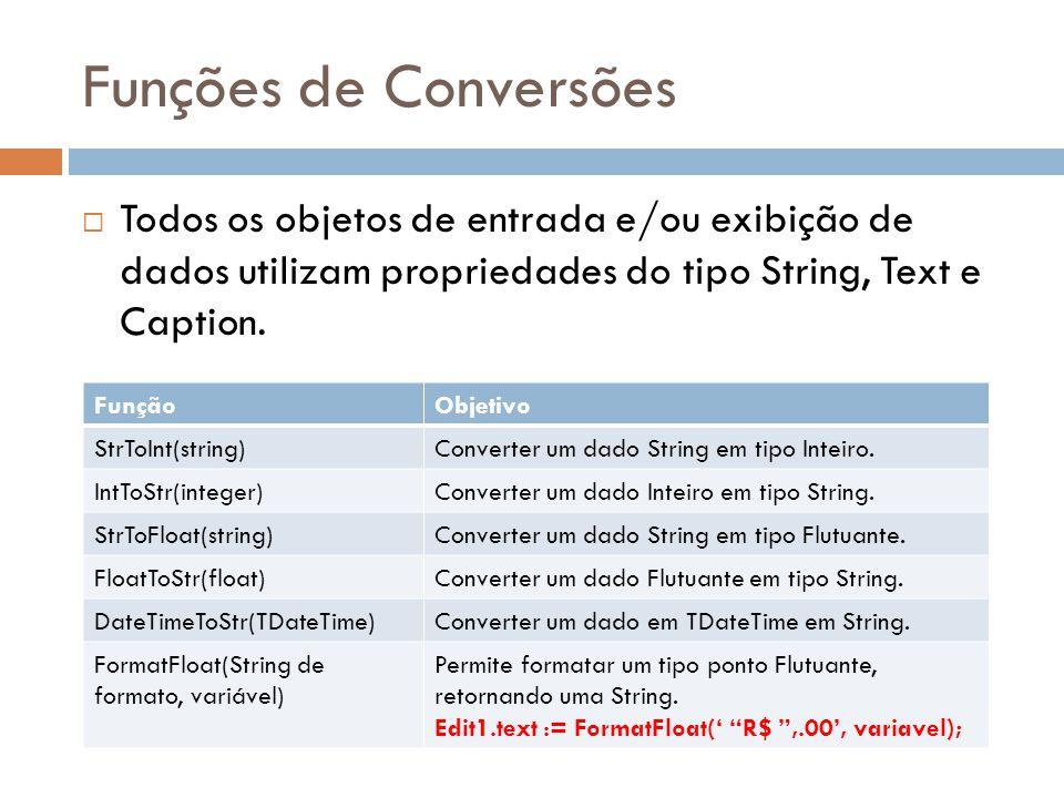 Funções de Conversões Todos os objetos de entrada e/ou exibição de dados utilizam propriedades do tipo String, Text e Caption. FunçãoObjetivo StrToInt
