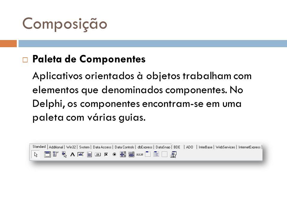 Composição Paleta de Componentes Aplicativos orientados à objetos trabalham com elementos que denominados componentes. No Delphi, os componentes encon