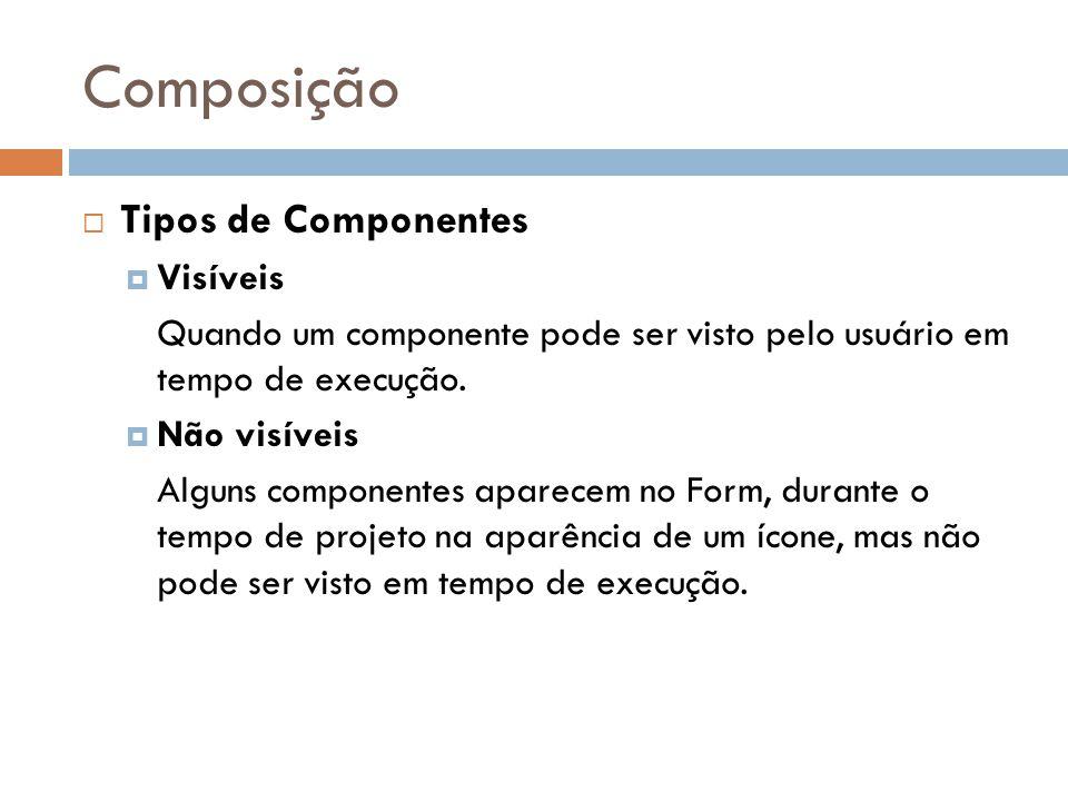 Composição Tipos de Componentes Visíveis Quando um componente pode ser visto pelo usuário em tempo de execução. Não visíveis Alguns componentes aparec