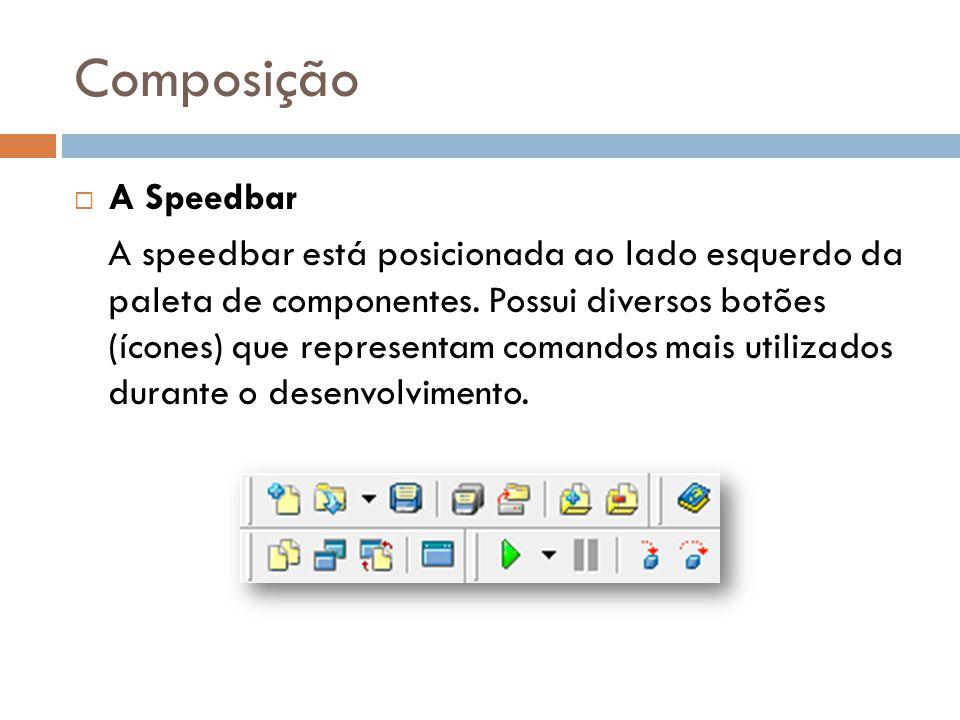 Composição A Speedbar A speedbar está posicionada ao lado esquerdo da paleta de componentes. Possui diversos botões (ícones) que representam comandos