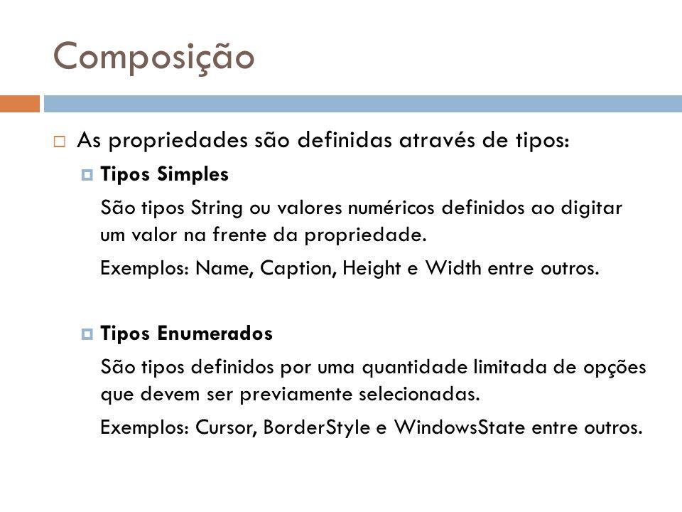 Composição As propriedades são definidas através de tipos: Tipos Simples São tipos String ou valores numéricos definidos ao digitar um valor na frente