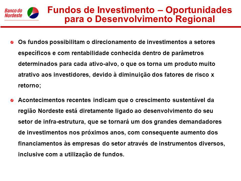 Fundos de Investimento – Oportunidades para o Desenvolvimento Regional Os fundos possibilitam o direcionamento de investimentos a setores específicos e com rentabilidade conhecida dentro de parâmetros determinados para cada ativo-alvo, o que os torna um produto muito atrativo aos investidores, devido à diminuição dos fatores de risco x retorno; Acontecimentos recentes indicam que o crescimento sustentável da região Nordeste está diretamente ligado ao desenvolvimento do seu setor de infra-estrutura, que se tornará um dos grandes demandadores de investimentos nos próximos anos, com consequente aumento dos financiamentos às empresas do setor através de instrumentos diversos, inclusive com a utilização de fundos.