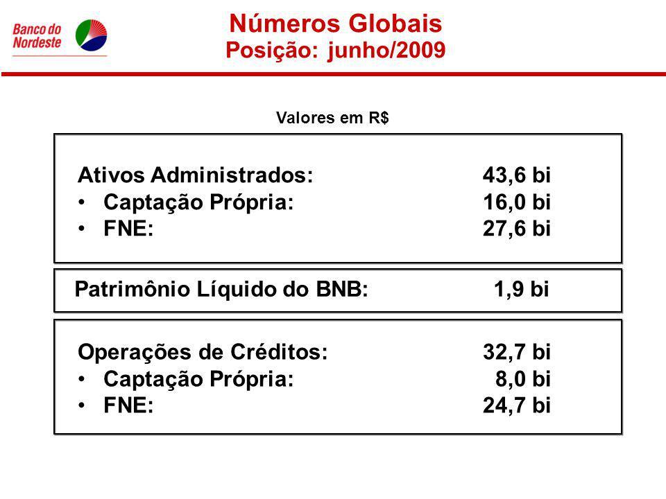 Números Globais Posição: junho/2009 Ativos Administrados: 43,6 bi Captação Própria: 16,0 bi FNE: 27,6 bi Valores em R$ Patrimônio Líquido do BNB:1,9 bi Operações de Créditos: 32,7 bi Captação Própria: 8,0 bi FNE: 24,7 bi