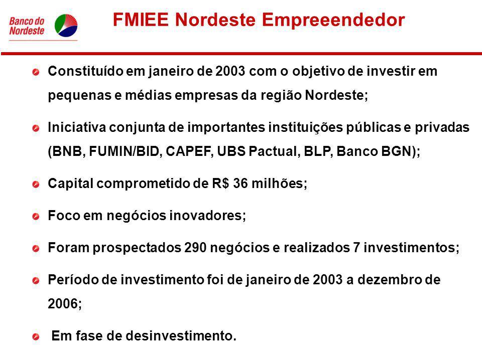 FMIEE Nordeste Empreeendedor Constituído em janeiro de 2003 com o objetivo de investir em pequenas e médias empresas da região Nordeste; Iniciativa conjunta de importantes instituições públicas e privadas (BNB, FUMIN/BID, CAPEF, UBS Pactual, BLP, Banco BGN); Capital comprometido de R$ 36 milhões; Foco em negócios inovadores; Foram prospectados 290 negócios e realizados 7 investimentos; Período de investimento foi de janeiro de 2003 a dezembro de 2006; Em fase de desinvestimento.