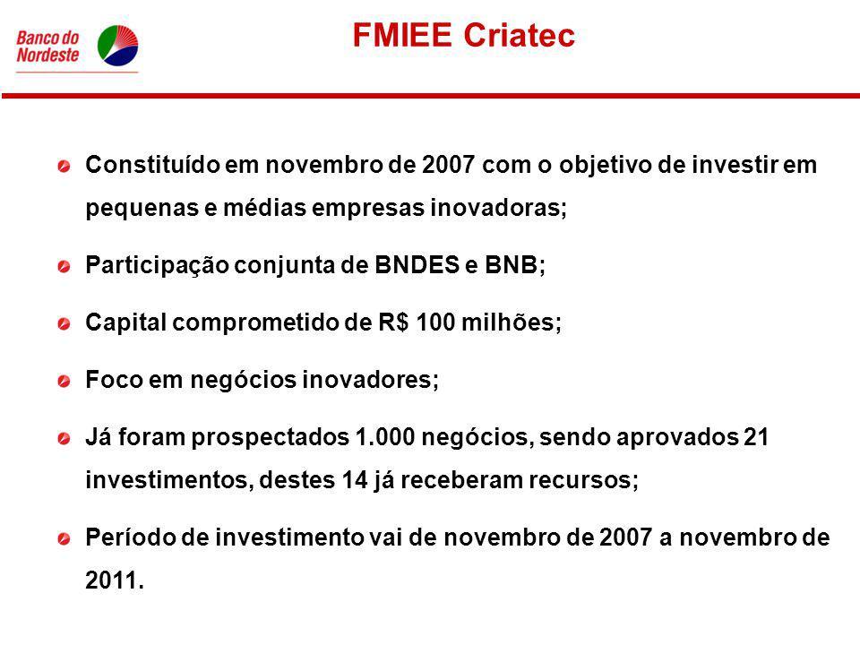 FMIEE Criatec Constituído em novembro de 2007 com o objetivo de investir em pequenas e médias empresas inovadoras; Participação conjunta de BNDES e BNB; Capital comprometido de R$ 100 milhões; Foco em negócios inovadores; Já foram prospectados 1.000 negócios, sendo aprovados 21 investimentos, destes 14 já receberam recursos; Período de investimento vai de novembro de 2007 a novembro de 2011.