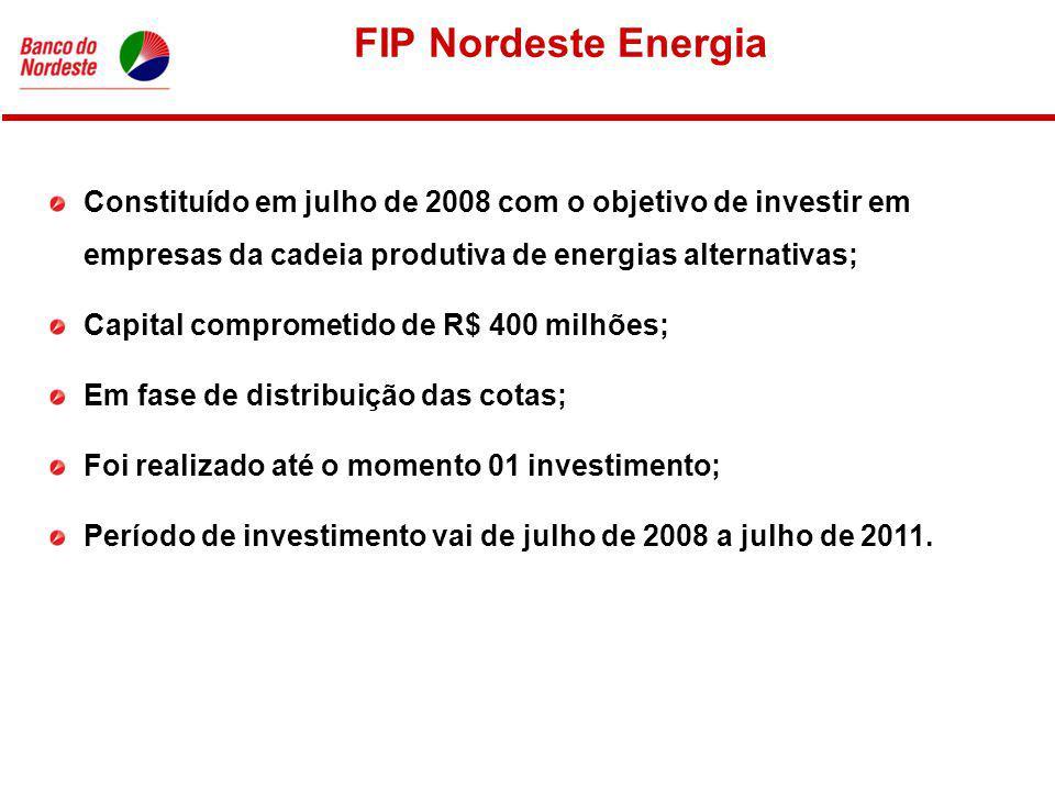FIP Nordeste Energia Constituído em julho de 2008 com o objetivo de investir em empresas da cadeia produtiva de energias alternativas; Capital comprometido de R$ 400 milhões; Em fase de distribuição das cotas; Foi realizado até o momento 01 investimento; Período de investimento vai de julho de 2008 a julho de 2011.