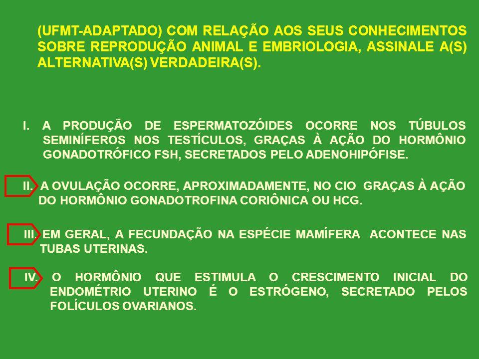 (UNIOESTE-ADAPTADO) COM RELAÇÃO À REPRODUÇÃO DE MAMÍFEROS, ASSINALE A(S) ALTERNATIVA(S) CORRETA(S). I. MULTIPLICAÇÃO, CRESCIMENTO E MATURAÇÃO SÃO AS F