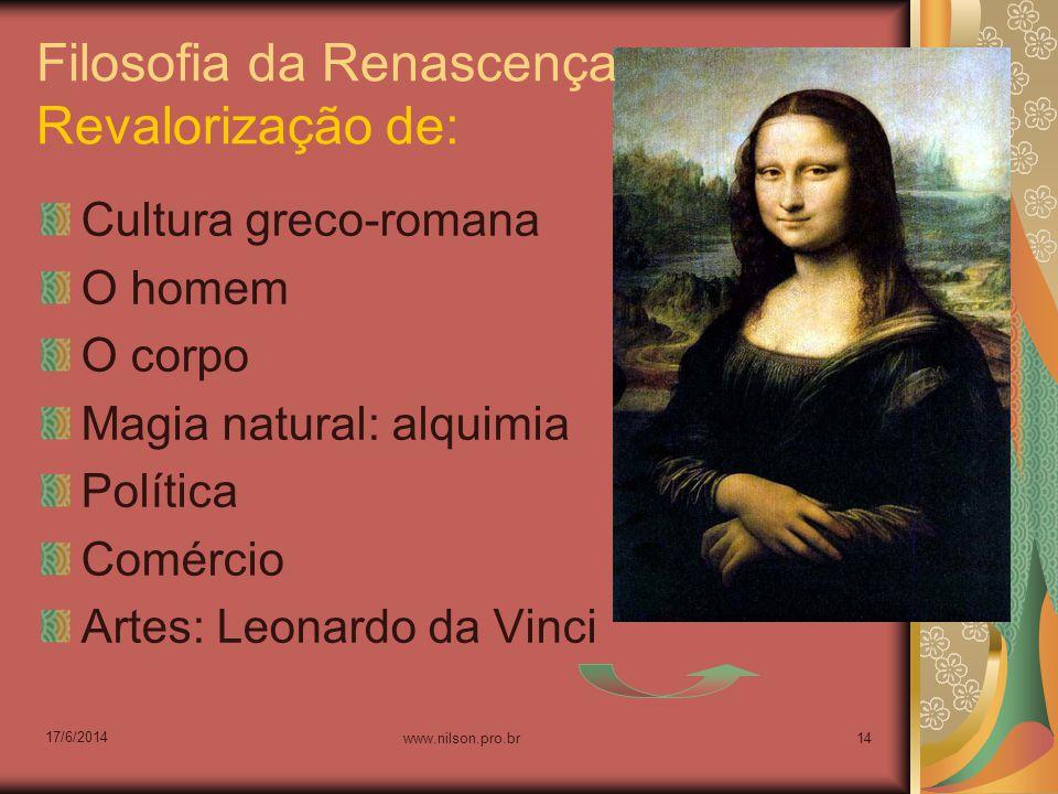 Filosofia da Renascença Revalorização de: Cultura greco-romana O homem O corpo Magia natural: alquimia Política Comércio Artes: Leonardo da Vinci 17/6