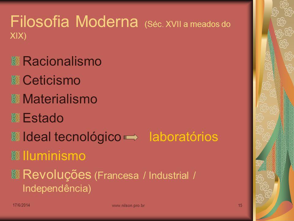 Filosofia Moderna (Séc. XVII a meados do XIX) Racionalismo Ceticismo Materialismo Estado Ideal tecnológico laboratórios Iluminismo Revoluções (Frances