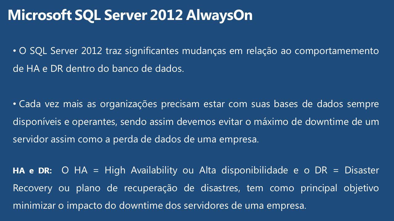 O SQL Server 2012 traz significantes mudanças em relação ao comportamemento de HA e DR dentro do banco de dados. Cada vez mais as organizações precisa