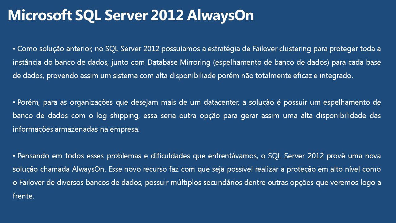 Como solução anterior, no SQL Server 2012 possuíamos a estratégia de Failover clustering para proteger toda a instância do banco de dados, junto com D
