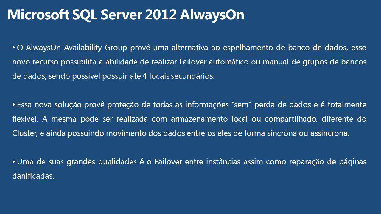 O AlwaysOn Availability Group provê uma alternativa ao espelhamento de banco de dados, esse novo recurso possibilita a abilidade de realizar Failover