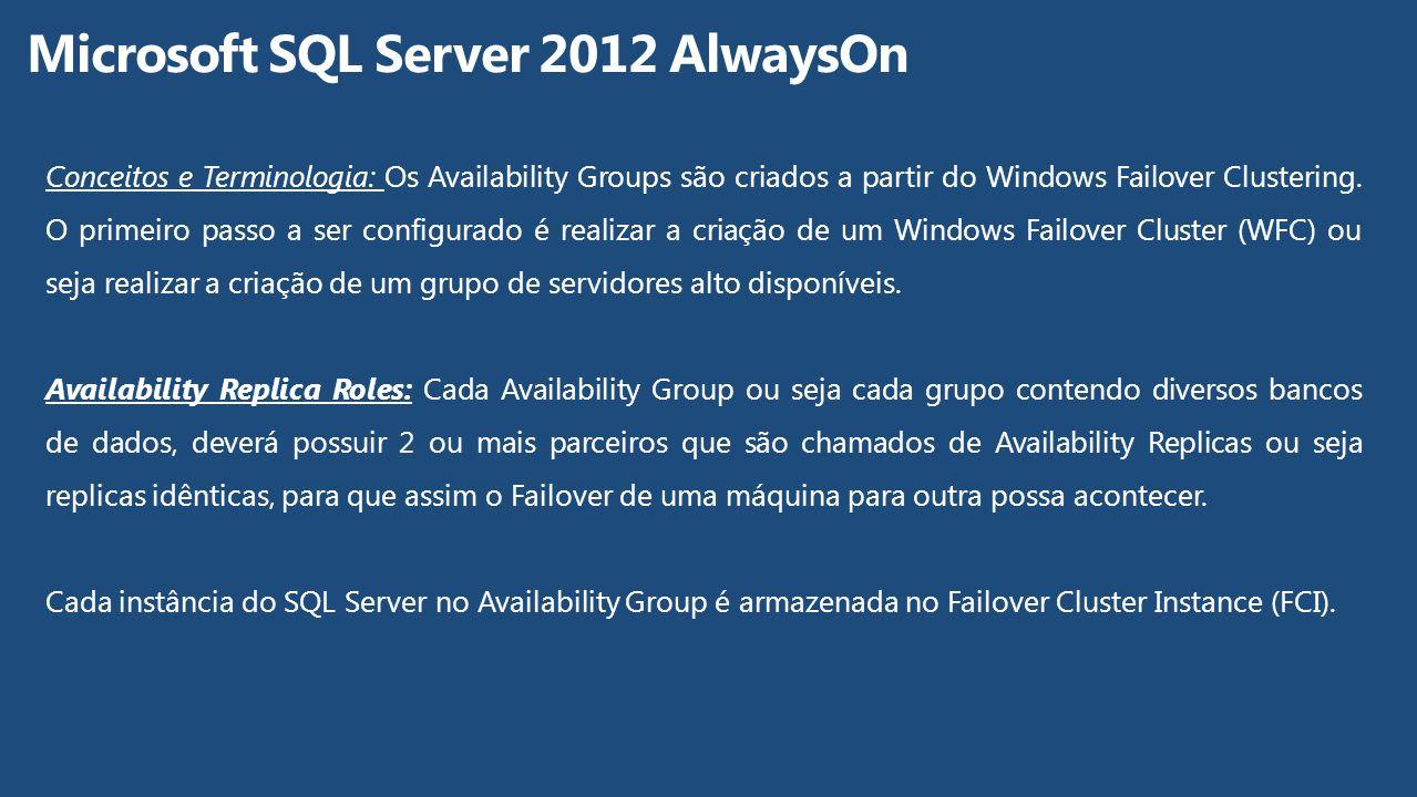 Conceitos e Terminologia: Os Availability Groups são criados a partir do Windows Failover Clustering. O primeiro passo a ser configurado é realizar a