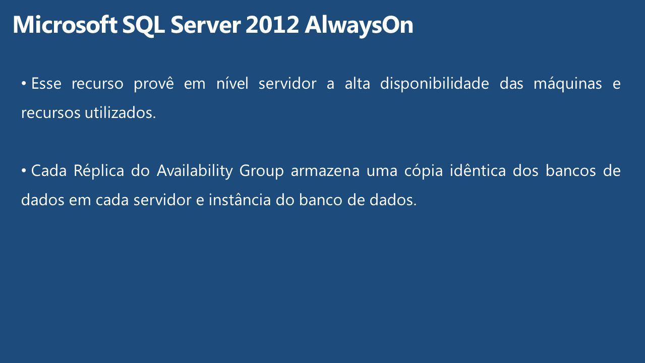 Esse recurso provê em nível servidor a alta disponibilidade das máquinas e recursos utilizados. Cada Réplica do Availability Group armazena uma cópia